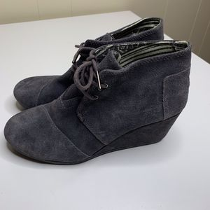 Toms Desert Wedge Gray Lace Up Casual Bootie 7